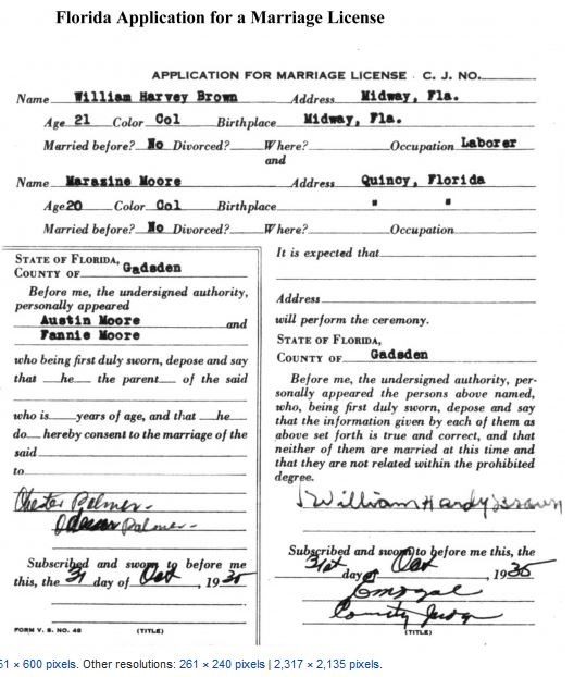 Florida 1935 marriage certificate